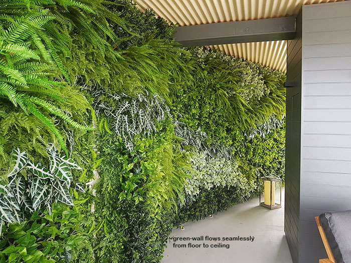 Green-Walls installed over mixture of surfaces & angles to create a seamless flow...