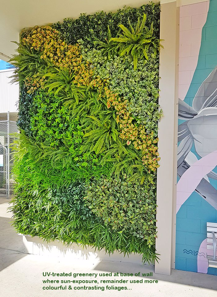 Shopping Mall Entrance finished-off with artificial Green-Wall...