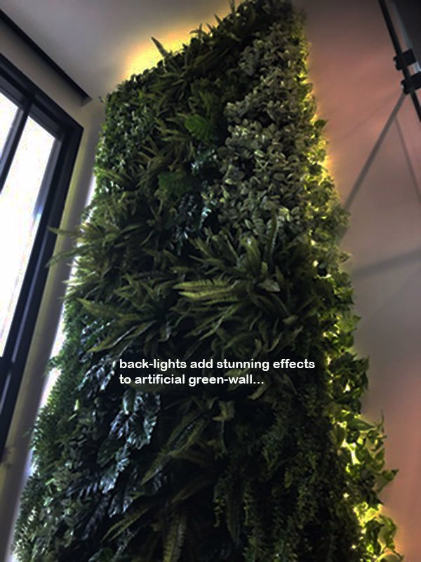 Back-lights add 'cool mood' to tall green-wall in lobby...