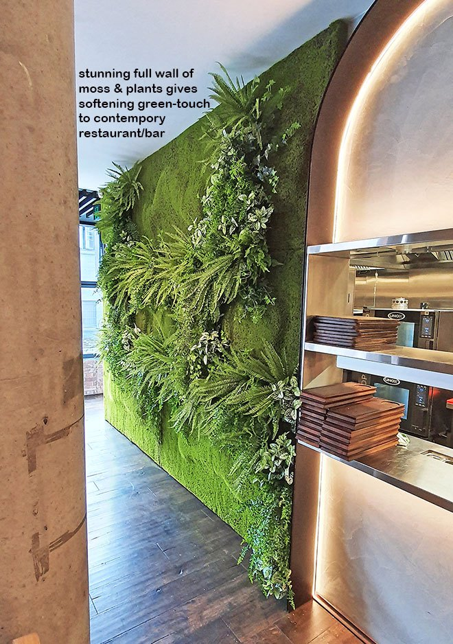Mossy plant-wall gives softening 'green-touch' to modern restaurant/bar...