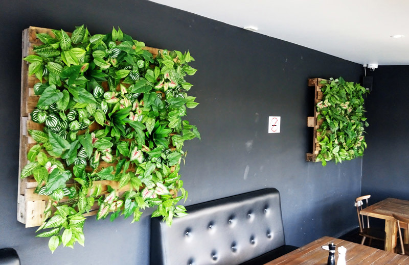 Green Walls & Photo Wall for funky modern Bar