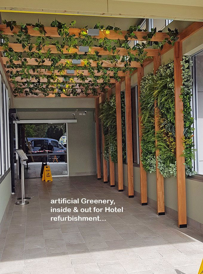 Hotel refurb with artificial plants inside & out...