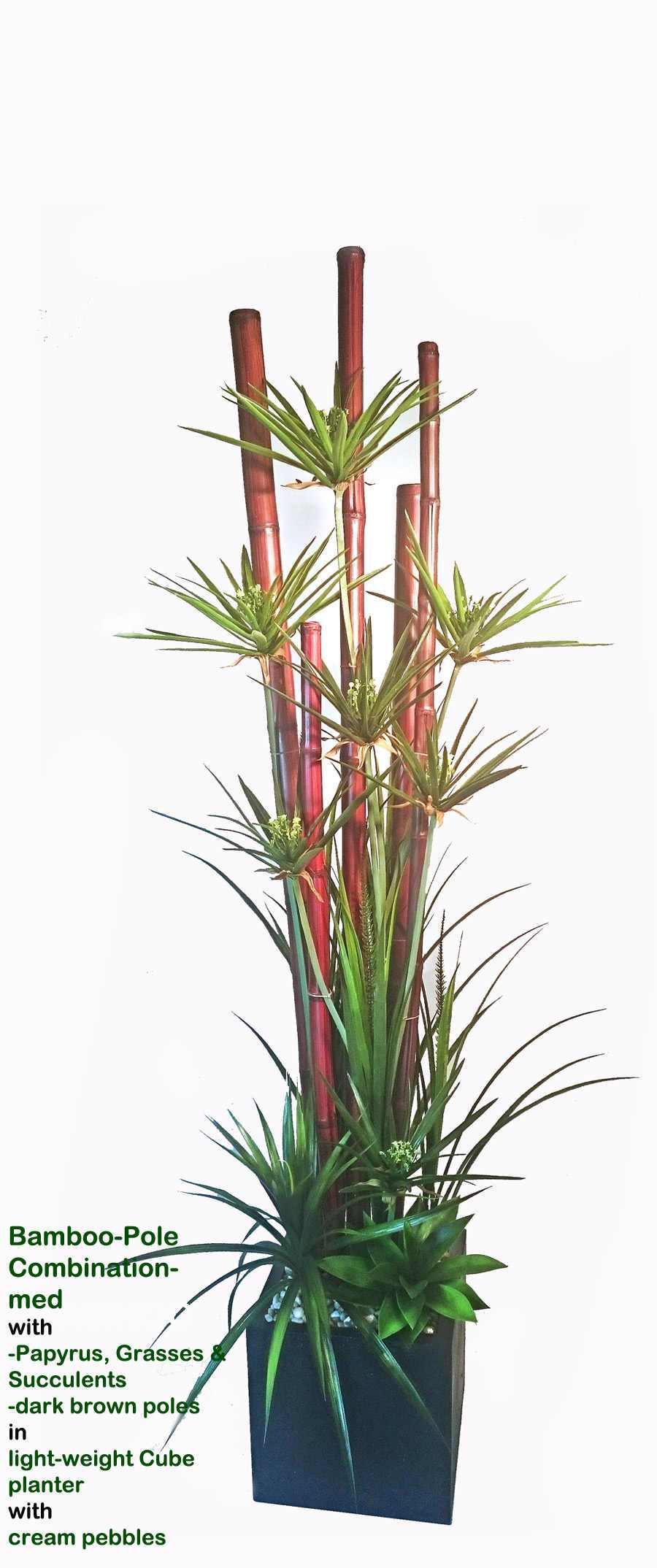 Articial Plants - Bamboo-Pole Combination- 2.1M Papyrus in light-planter