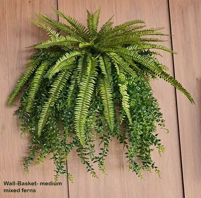 Articial Plants - Wall-Baskets Mixed Ferns- med
