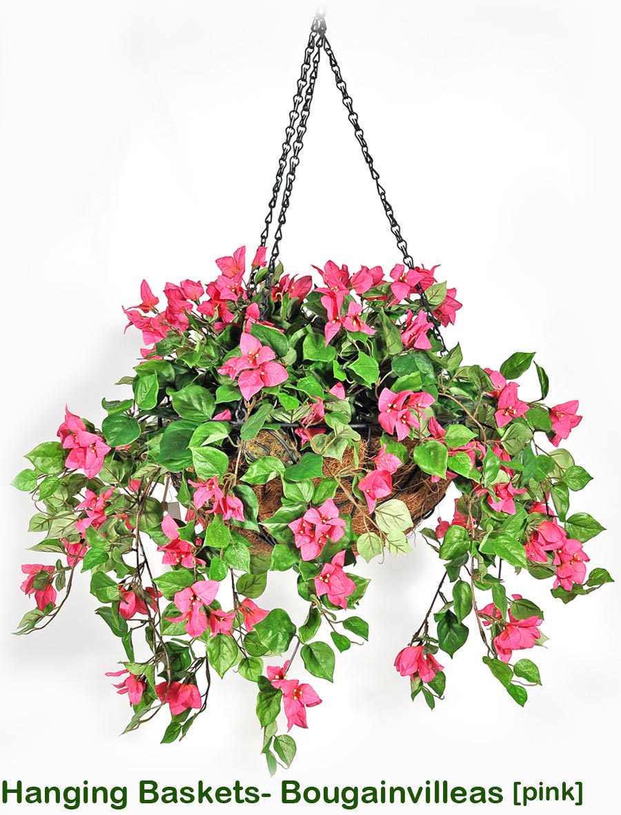 Articial Plants - Hanging Baskets- bougainvilleas Large