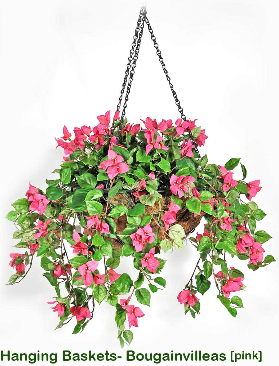 Articial Plants - Hanging Baskets- bougainvilleas Medium
