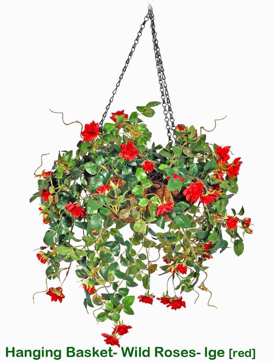 Articial Plants - Hanging Baskets- wild roses (Medium)