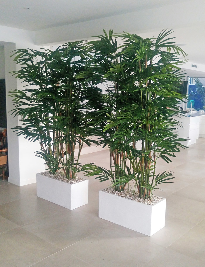 Articial Plants - Trough Planters- with Rhapis-Palms 2.3m tall