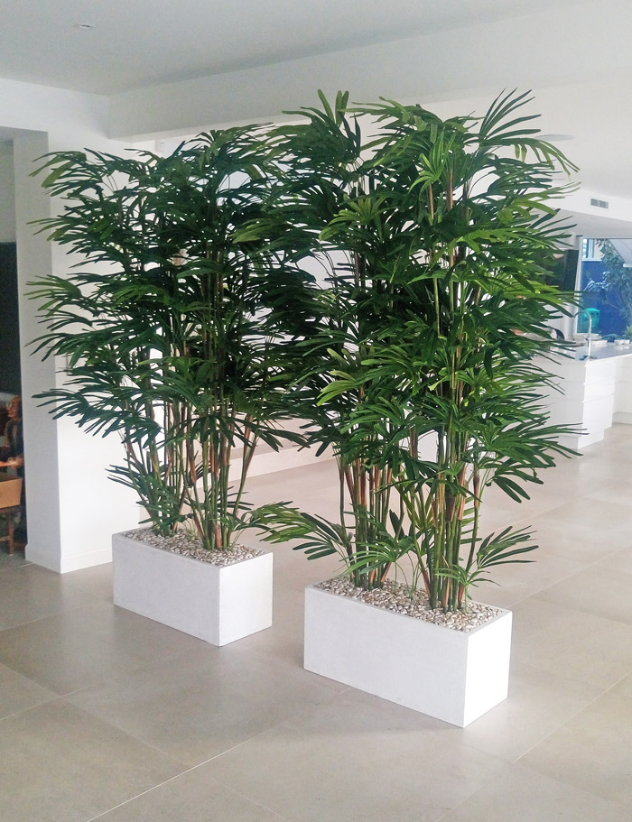 Articial Plants - Trough Planters- with Rhapis-Palms 2m tall