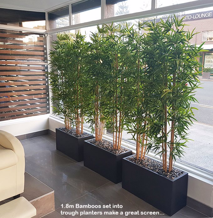 Articial Plants - Trough Planters- with Bamboos 1.3m tall