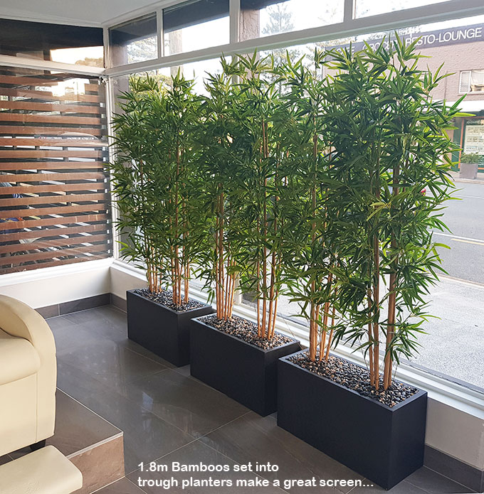 Articial Plants - Trough Planters- with Bamboos 1.6m tall
