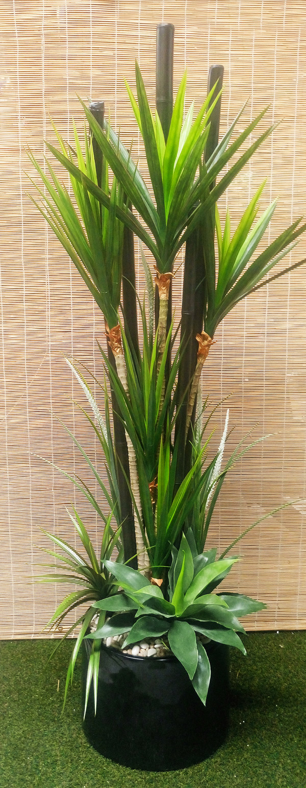 Articial Plants - Packages- Yucca + Bamboo Poles Combination Planter 2.2M