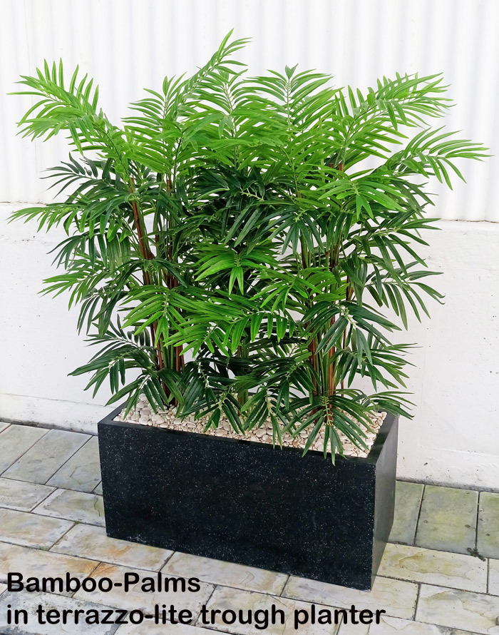 Articial Plants - Trough Planters- with Bamboo-Palms 1.65m tall