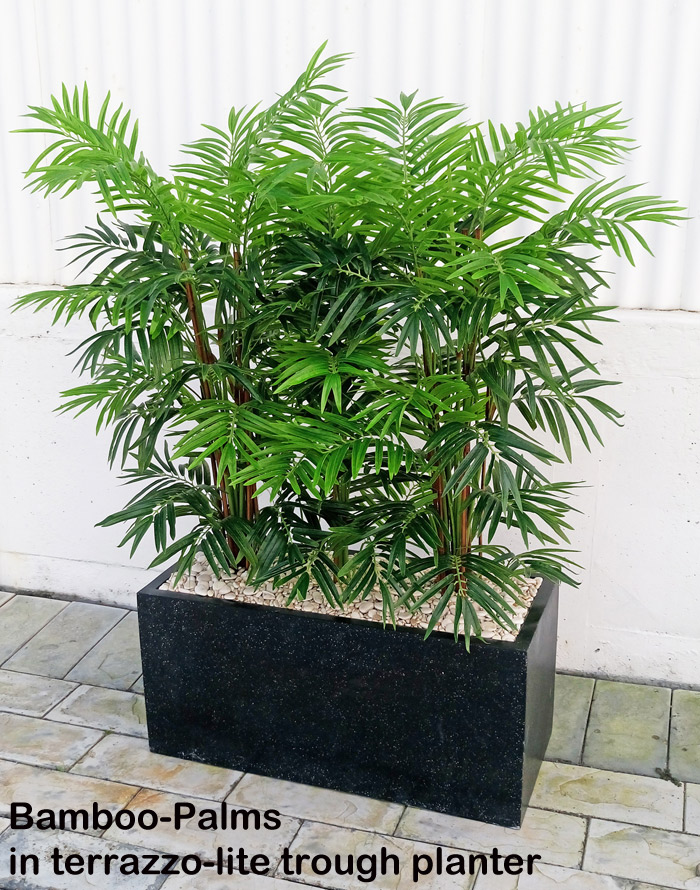 Articial Plants - Trough Planters- with Bamboo-Palms 1.3m tall