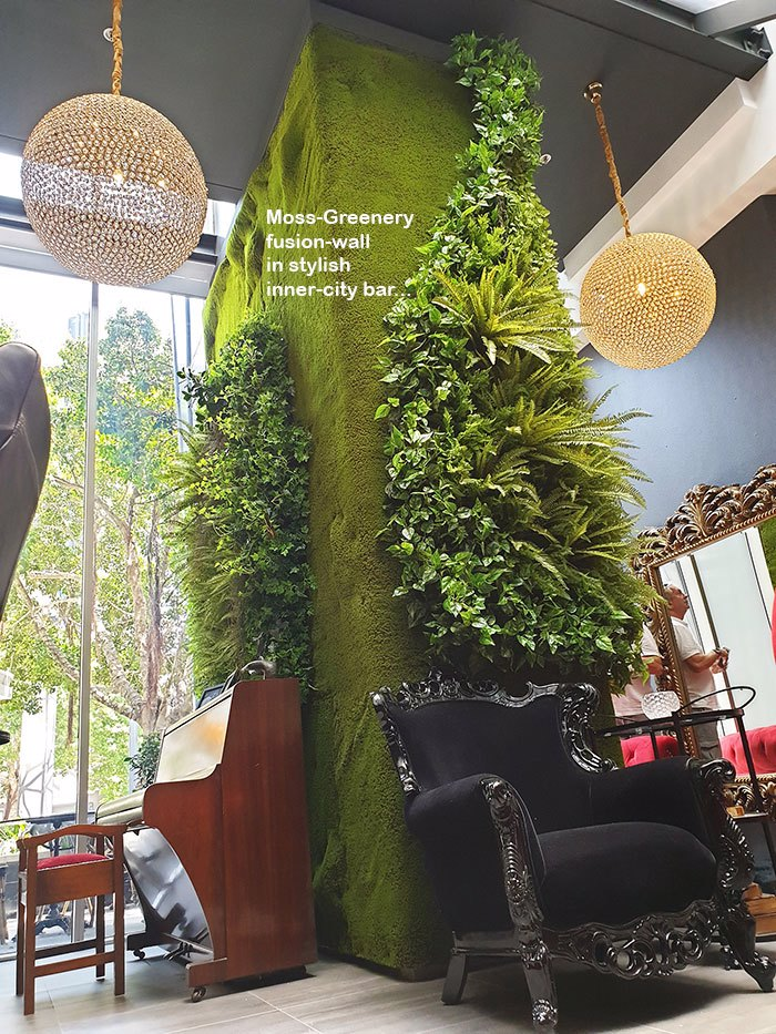 Moss/Green-Wall fusion latest direction as used in chic inner-city venue...