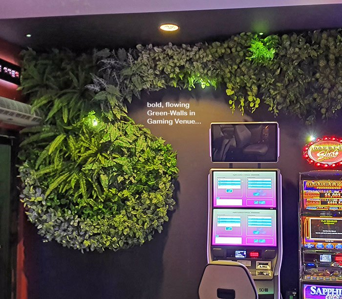 Flowing Green-Wall design for Gaming Rooms...