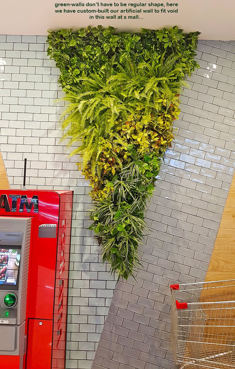 Custom-sized to fit architecture, artificial green-walls are cool!