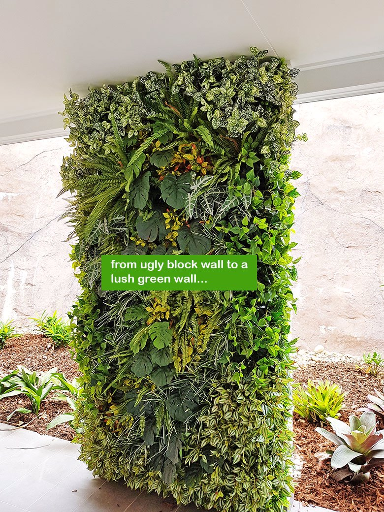 Ugly block support walls turned into lush green-screens with artificial plants