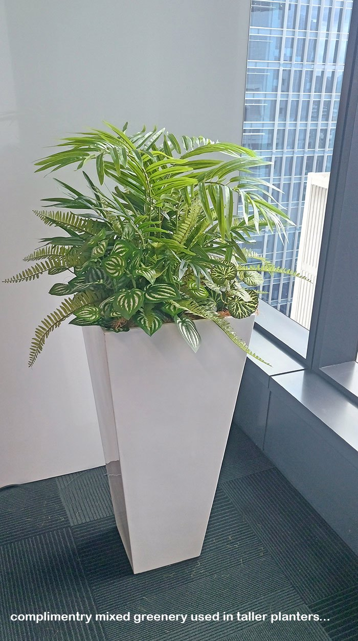 assorted office planters with matching greenery mixes...