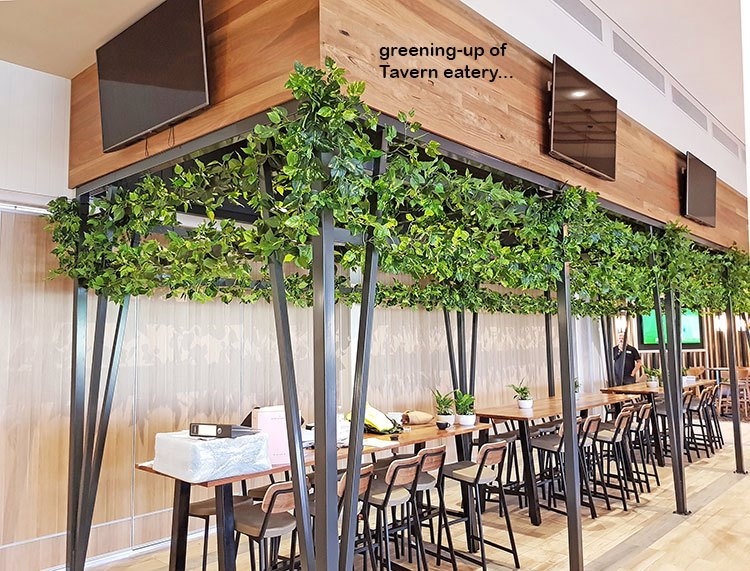 New Tavern uses artificial greenery- lots!