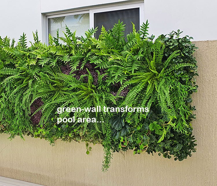 Domestic Pool Area improved by soft Green-Wall
