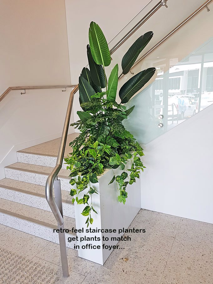 Retro-design Office planters get matching plants